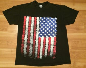 58ba15b7f XL 1990 American Flag men's T shirt black red white blue Wild Oats Made in  the USA 90's 1990's distressed United States of America