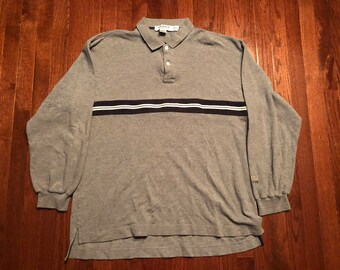 50933453 XXL 90's Nautica Competition Sailing mens vintage l/s polo rugby shirt gray  blue white 1990's 2XL
