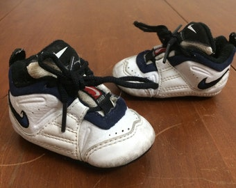 54baf17a7a31 90 s Nike Team First Training infant sneakers shoes size 2C white blue  vintage 1990 s baby basketball