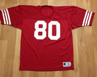 02cf8adeb24 XL 90 s San Francisco 49ers Jerry Rice vintage football jersey Champion red  white NFL 1990 s