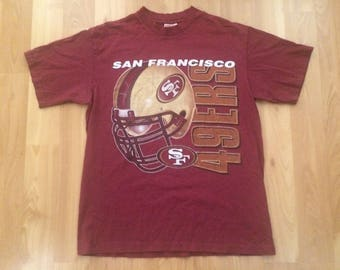 8ebf4b6a5e0 Large 90 s San Francisco 49ers men s T shirt vintage Sof Tees red gold NFL  football 1990 s Forty Niners California L