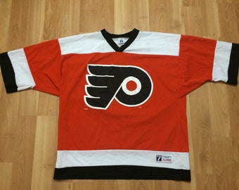 XL 90 s Philadelphia Flyers hockey jersey John LeClair NHL vintage Logo 7  1990 s orange black white ba2e532e2