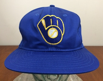 206aa484c0d 90 s Milwaukee Brewers baseball cap snapback hat Genuine MLB vintage Twins  Ent blue gold 1990 s vintage snap back Wisconsin