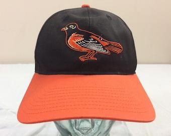90 s Baltimore Orioles snapback baseball hat cap black orange white 1990 s  vintage snap back Genuine MLB Maryland MD 3a5b319ad48