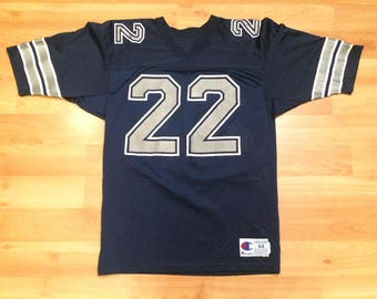 Large 90 s Dallas Cowboys Emmitt Smith jersey size 44 vintage Champion  football navy blue silver NFL 1990 s c5e369481
