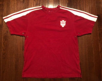 a91c3db8b Extra Small 90's Indiana University men's vintage T shirt red white Adidas  1990's Hoosiers sneakers footwear XS