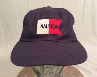 e24c1a1ca07b7 90 s Nautica Sailing strapback hat cap blue red white vintage 1990 s flag spell  out