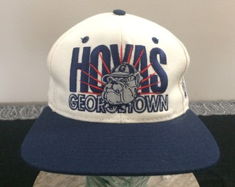 812cb6bdf10 Georgetown Hoyas baseball cap vintage snapback white blue red University  basketball Signature college
