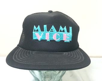 80 s Miami Vice baseball cap snapback trucker hat vintage Sportcap black  blue pink 1980 s vintage snap back c529df4672d6