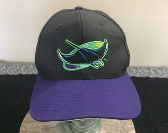 quality design 7b8a8 ddddb 1998 Tampa Bay Devil Rays baseball hat vintage snapback cap Logo 7 black  purple 90 s Official MLB 1990 s