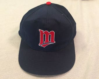 794a930d906 Kids Minnesota Twins vintage snapback baseball cap hat Competitor navy blue  red Genuine MLB youth one size