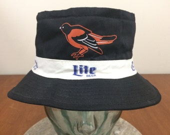bf22536f34306 Medium 1993 Baltimore Orioles bucket hat 93 MLB All Star Game Miller Lite  HTS black orange white 90 s 1990 s baseball Maryland