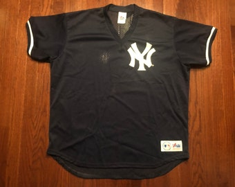 2afe6477 XXL 90's New York Yankees baseball jersey Air-Knit navy blue white 1990's  Majestic made in the U.S.A. 2XL