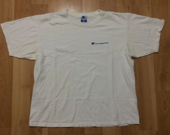 68dd275b2 Large 90 s Champion Authentic Athletic Apparel T shirt men s white blue red  Made in the U.S.A. 1990 s