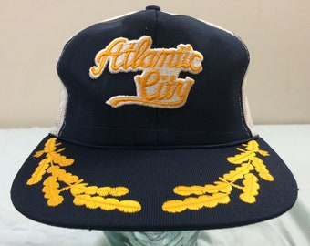 a53cd2b3f01 Vintage Atlantic City New Jersey snapback baseball hat trucker cap Admiral  Captain 1980 s snap back 80 s blue white gold leaf