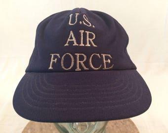195012ee340 80 s U.S. Air Force baseball hat cap adjustable snapback navy blue silver  vintage military 1980 s