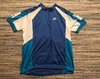 52da3e3f0 Medium 80 s Nike men s cycling jersey shirt blue white swoosh sportswear  1980 s bicycle racing riding