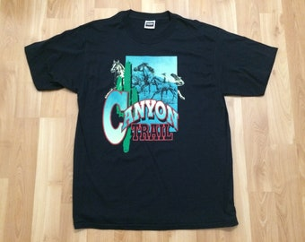 9aa43fdb XL 90's Canyon Trail vintage men's T shirt black green red 1990's Tultex  horse horses cactus desert