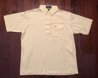357113ad Large 70's Jack Nicklaus golf polo shirt men's vintage Golden Bear yellow  one pocket cigarette golfer golfing 1970's
