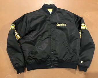 XL 80 s Pittsburgh Steelers satin coat jacket men s vintage Starter black  yellow NFL Authentic Pro Line Football 1980 s 6181784f8