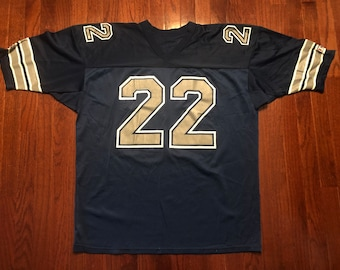 e981989ed8b XXL 90's Dallas Cowboys Emmitt Smith jersey vintage Champion football navy  blue silver NFL 1990's 2XL