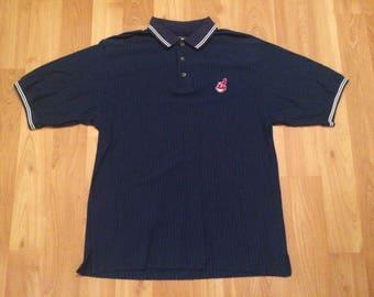 Medium 90's Cleveland Indians polo shirt men's vintage Starter golf blue red white 1990's MLB baseball