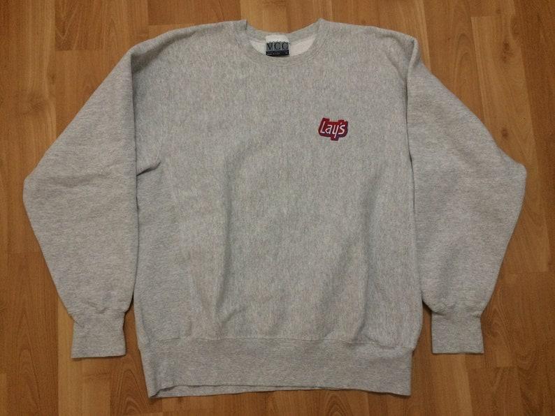 XL 90/'s Lay/'s Potato Chips men/'s sweatshirt vintage crewneck gray red white blue 1990/'s Vantage Club Collection snacks reverse weave