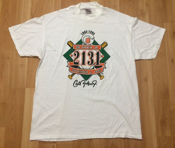 100% authentic c64a3 e303e XXL 1995 Cal Ripken Jr. Baltimore Orioles vintage men's T shirt white black  orange MLB baseball 2XL