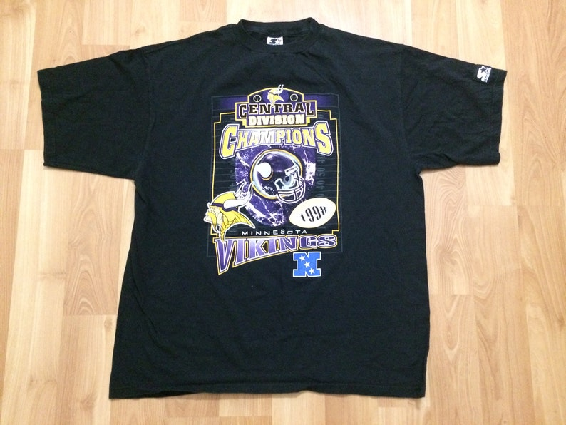 16b66f5c Large 1998 Minnesota Vikings men's T shirt vintage Starter black purple  white 1990's Central Division Champions 90's