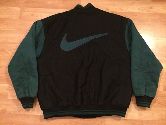 XL 90's Nike wool varsity jacket men's black green vintage 1990's big swoosh sportswear coat