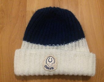 70's Baltimore Colts winter hat skull cap blue white football 1970's patch NFL