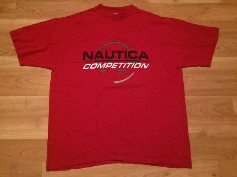 3d2681622e92c XL 90 s Nautica Competition men s vintage T shirt red