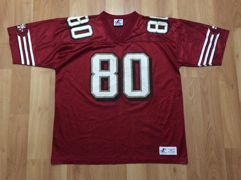 aeb31b53 XL 90's San Francisco 49ers Jerry Rice vintage football jersey Logo  Athletic red white NFL Forty Niners
