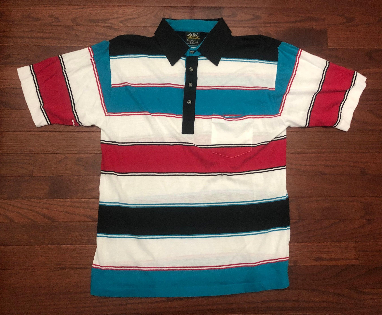 1970s Mens Shirt Styles – Vintage 70s Shirts for Guys Medium 70s Chip Beck Collection Vintage Mens Polo Golf Shirt Black White Blue Red 1970s Golfer Golfing $0.00 AT vintagedancer.com