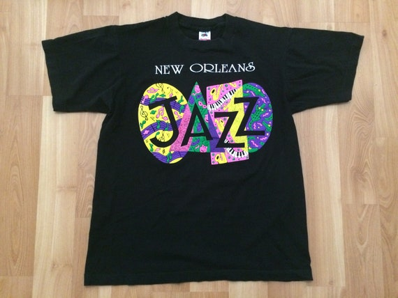 Large 90's New Orleans Jazz men's vintage T shirt black yellow pink green Louisiana 1990's Fruit of the Loom