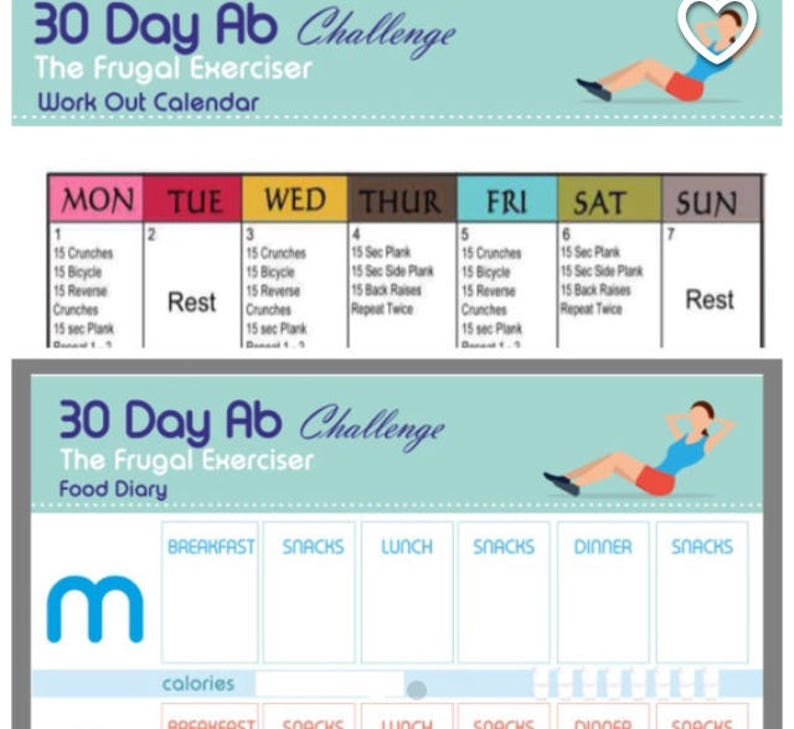 Home Fitness, Workout Plan, 30 Day Ab Program, Bad Knees Workout, Printable  Workout Plan, Body Fat Loss, Workout Anywhere, Weight Loss
