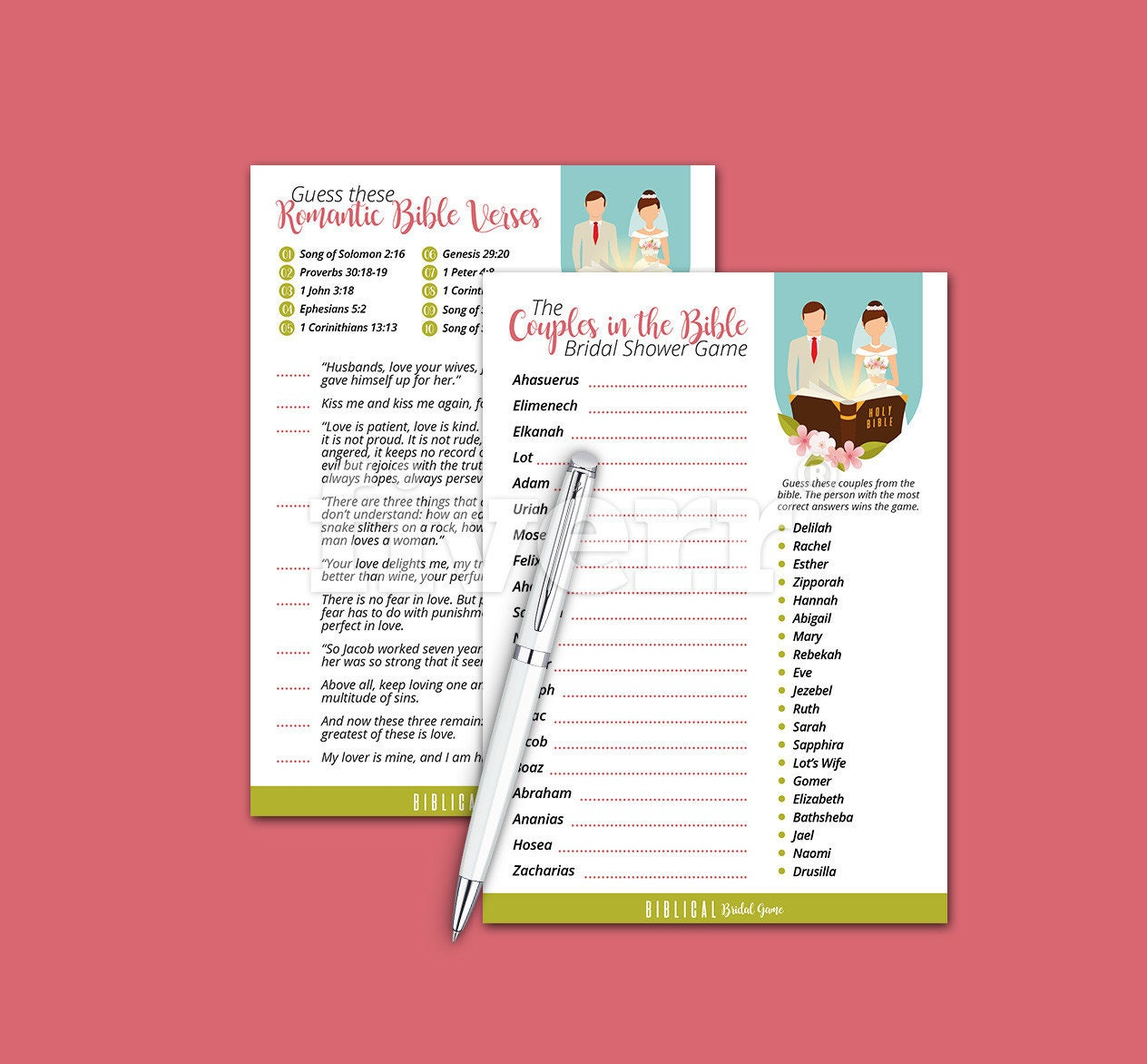 Biblical Bridal Shower Games Couples Of The Bible Bridal | Etsy