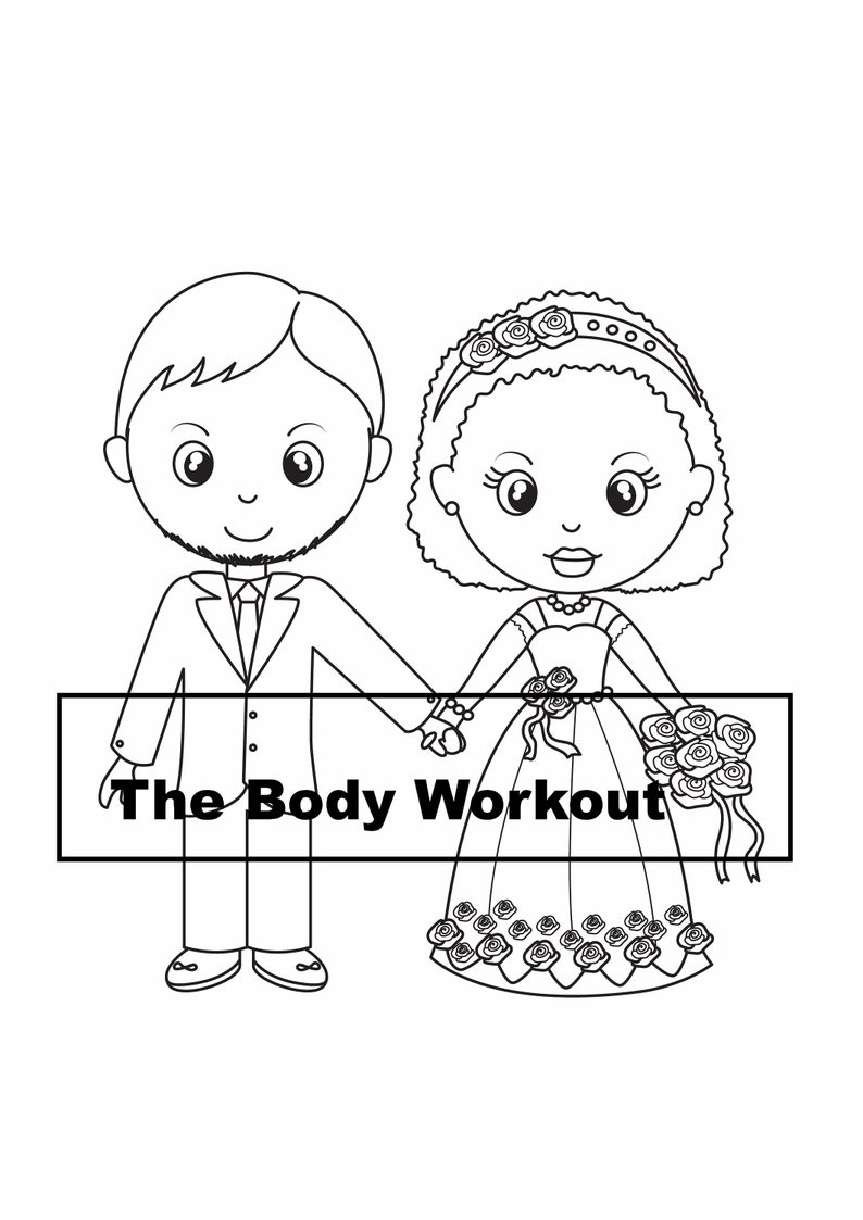 Interracial Couple Coloring Page, Wedding Coloring Book, Wedding Kid  Activity Book, Kid Wedding Activity, Wedding Activity Book, Interracial