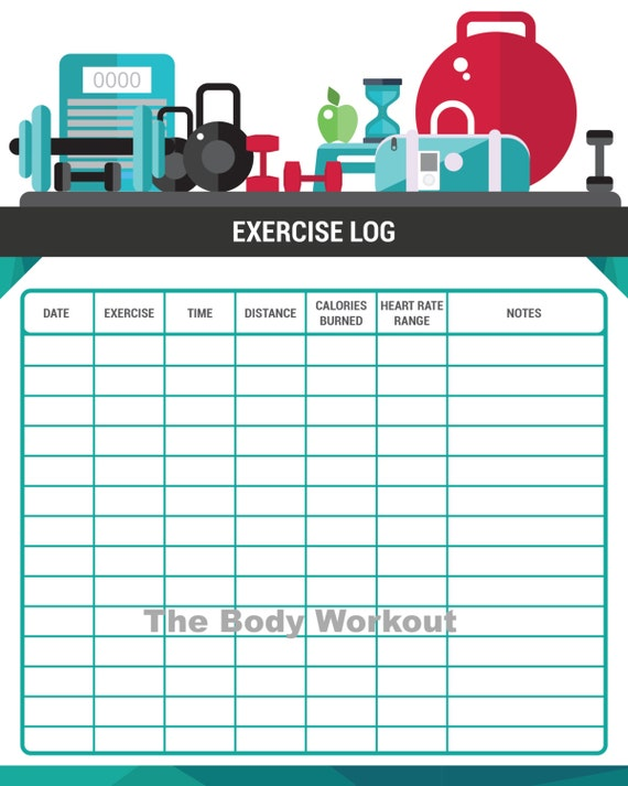 workout log exercise log fitness diary gym log gym diary etsy