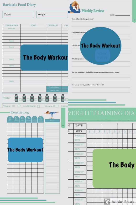 Bariatric Weight Loss Package Exercise Log Strength Training Etsy