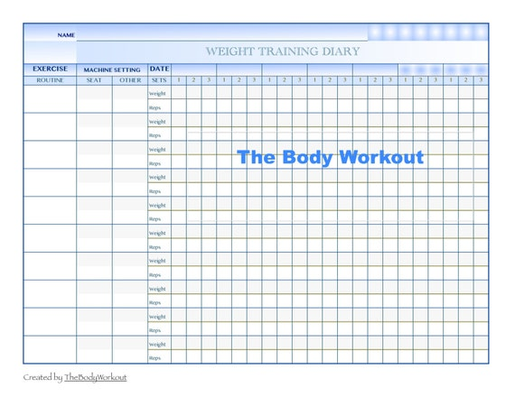 It is a picture of Printable Workout Log inside weight lifting