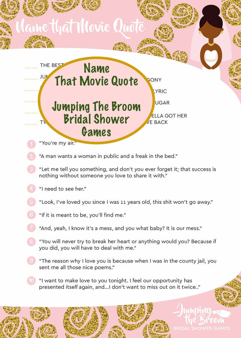 Jumping The Broom Bridal Movie Quote Game African American Etsy
