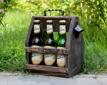 Wooden Beer Caddy, Wooden Beer Carrier, Beer Bottle Opener, Wood six pack beer carrier, Beer holder, Wooden Beer Tote, Birthday gift