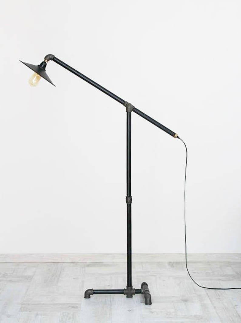 Industrial lamp Industrial floor lamp pipe floor lamp standard-lamp Loft floor lamp Pipe torchere floor lamp metal plate lamp shade