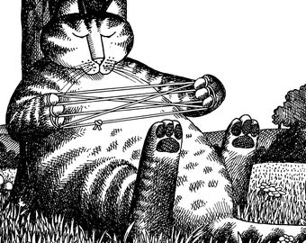 Kliban Cats Funny Art Print Cat Calendar Cartoon B Original Catcalendar With String