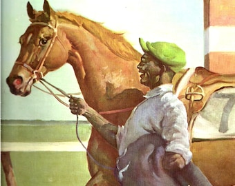 Vintage Horse Print Wesley Dennis Equestrian Art Horse Art   Equine Portrait Horse Illustration Original Book Plate Thoroughbred Race Horse