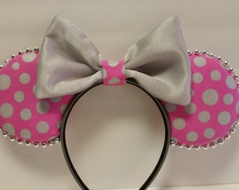 Pink & Silver Polka Dot Mickey inspired Ears with silver bead trim