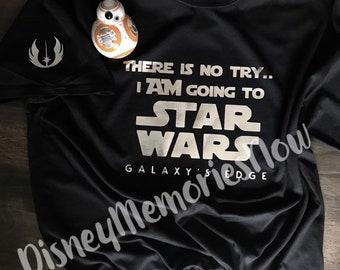 19c1da7f Star Wars Galaxy's Edge | Metallic Silver | Galaxy's Edge Disneyland |  Disney World | Yoda | There is no try | Jedi T-shirt