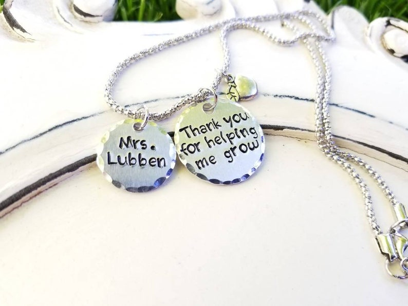Thank you for Helping me Grow Gift for End of School Gifts for Great Teacher Teacher gift necklaces End of Year Teacher appreciation
