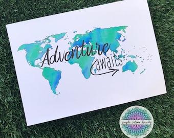 PRINT - Adventure Awaits Watercolour World Map